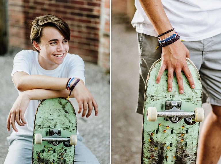 skater with bracelet, scuffed skateboard