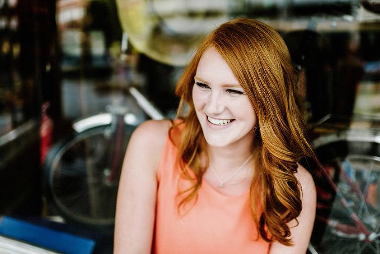 redhead senior smiling