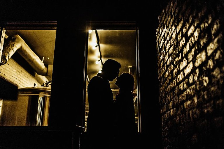 silhouette of two people looking into each others eyes