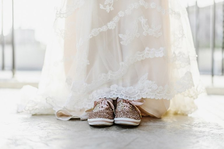 the bride's sparkling canvas wedding shoes