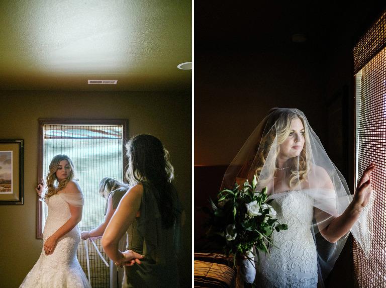 bride, wedding dress, window light